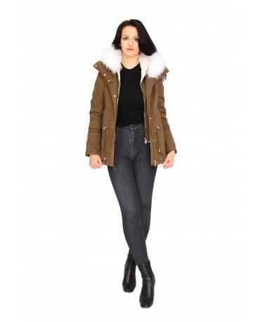 Damen Jacke mit Weiß Pelz in Khaki CL1602-3