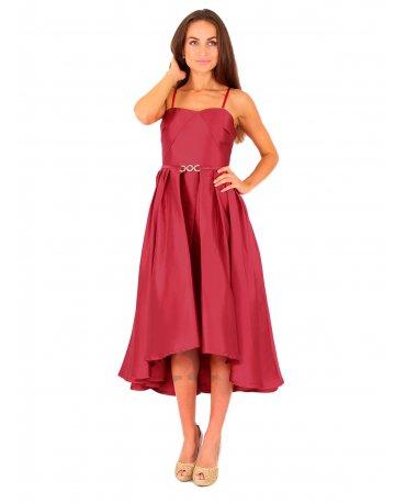 Elegantes Lautinel Vokuhila Kleid aus Satin in Weinrot | R8027