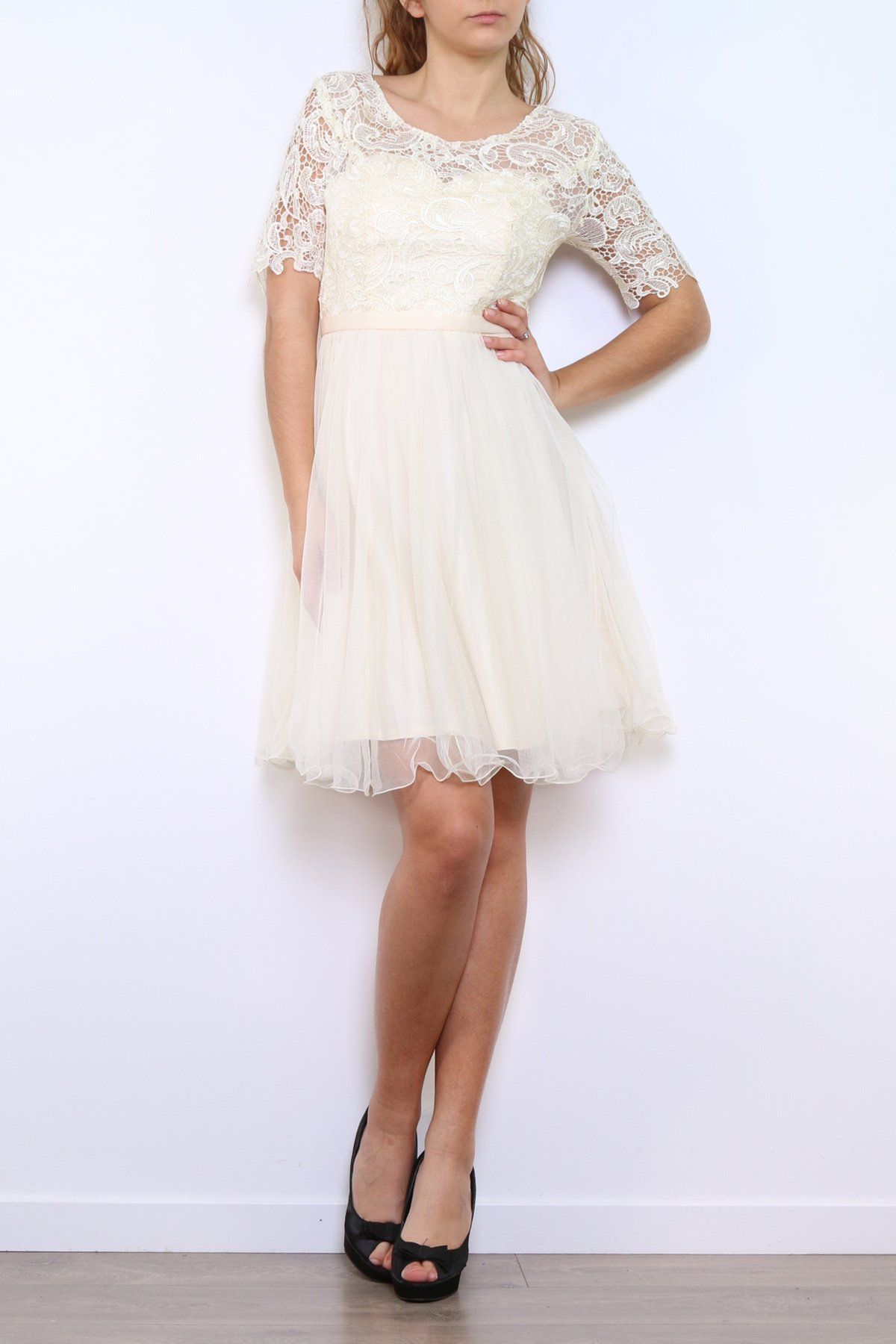 Cocktailkleid aus Tüll/Spitze mit halb Arm in Weiß - R9107