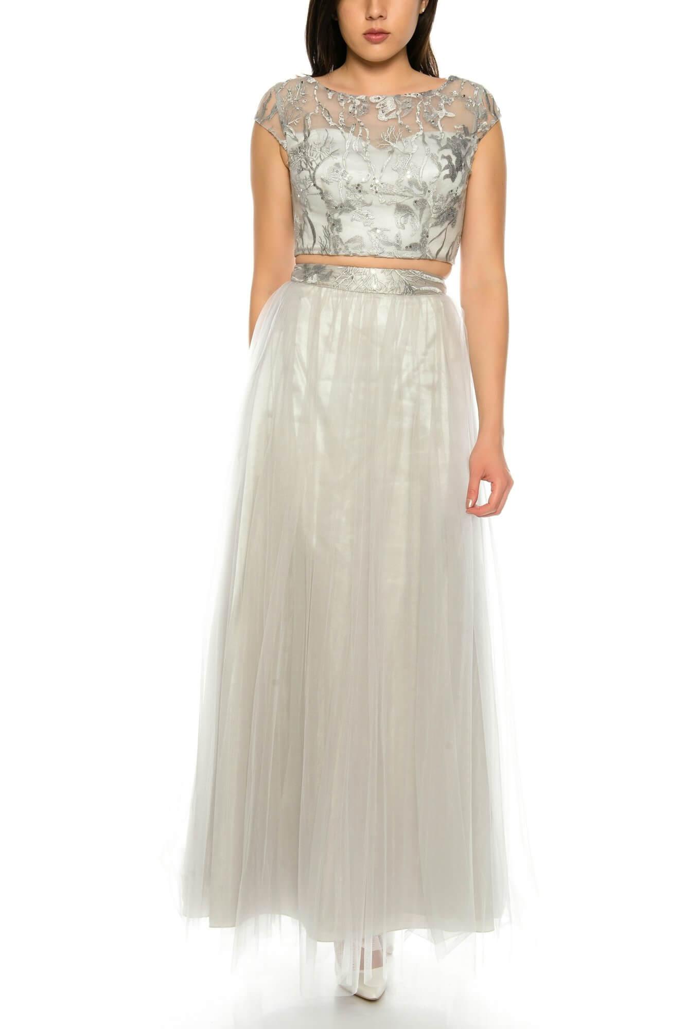Elegantes zweiteiler Abendkleid aus Tüll mit Blumendruck in Silber ...