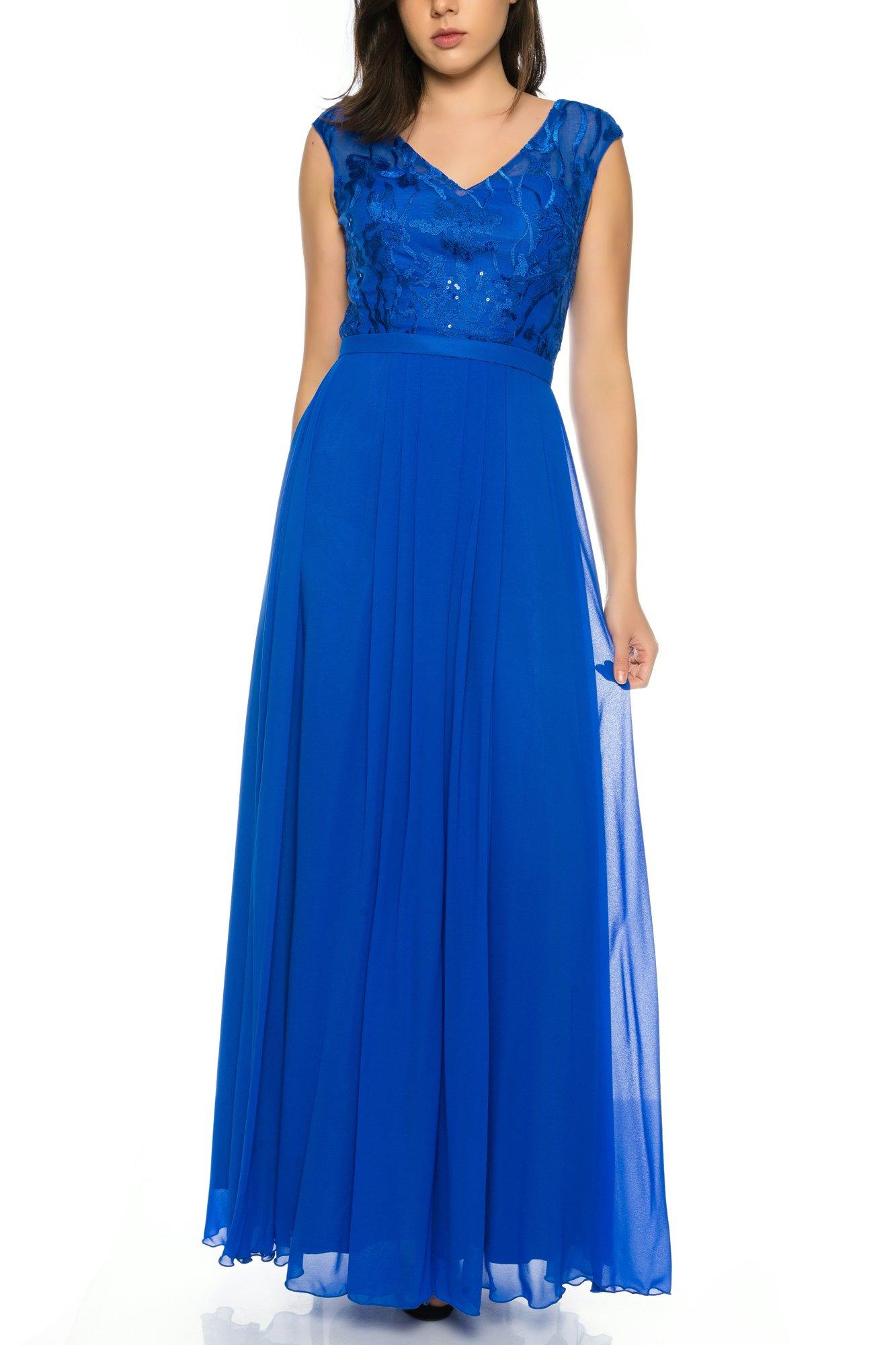 d2df641026fa Elegantes Abendkleid mit Oberteil aus floraler Spitze und fließendem Chiffon  in Royal Blau   R1583