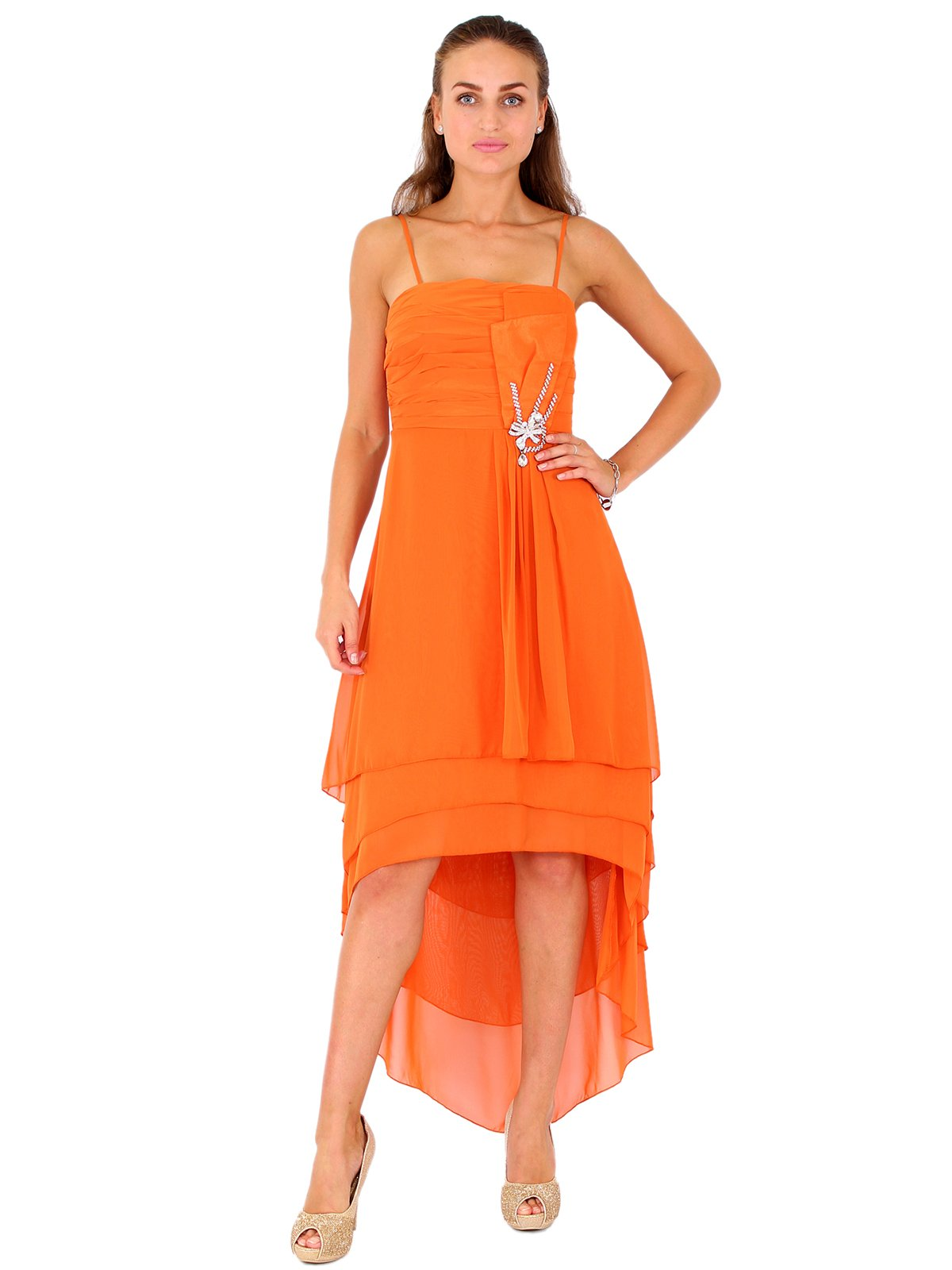 Eleganz Figurumschmeichelndes Cocktail-Kleid von Lautinel Orange   R7143