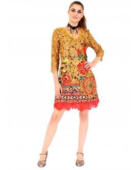 101 Idees Kleid in Camel mit floraler Spitze | A1131