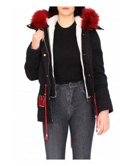 Damen Jacke mit rotem Pelz in Schwarz CL1602