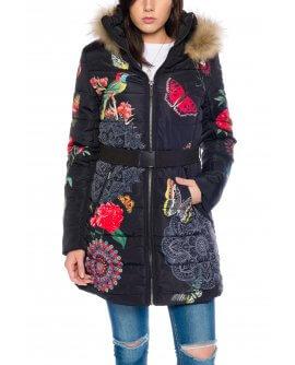 101 Idees FLORALE Damen Winterjacke mit Echtfell Kapuze F1811
