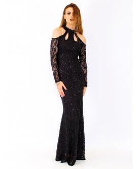 JENNY° Elegantes Paillettenkleid mit Ärmeln in Schwarz | F1108
