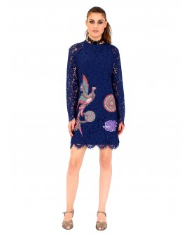 101 Idees Kleid mit transparentem Arm und floralem Muster | M0912