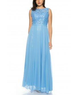 Bezauberndes Abendkleid aus fließendem Chiffon mit Oberteil aus feiner Spitze von Juju&Christine in Hellblau | R1570