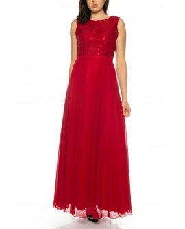 Bezauberndes Abendkleid aus fließendem Chiffon mit Oberteil aus feiner Spitze von Juju&Christine in Wein Rot | R1570