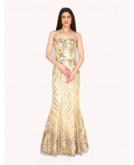 Elegantes Meerjungfraukleid mit Pailletten besetzt von Juju&Christine in Gold | R1580