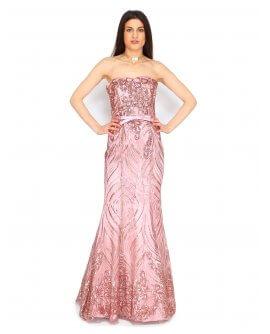 Elegantes Meerjungfraukleid mit Pailletten besetzt von Juju&Christine in Altrosa| R1580
