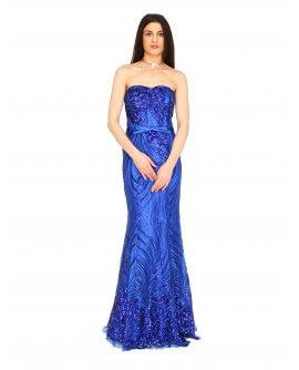 Elegantes Meerjungfraukleid mit Pailletten besetzt von Juju&Christine in Royalblau | R1580