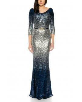 Schönes bezauberndes Maxi Abendkleid Langarm mit komplett besetzten Pailletten in Marineblau/Silber von Juju&Christine R1601