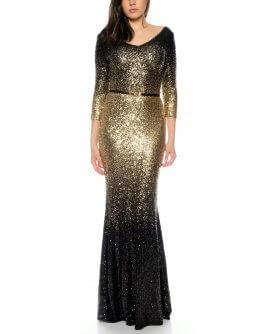 Schönes bezauberndes Maxi Abendkleid Langarm mit komplett besetzten Pailletten in Schwarz/Gold von Juju&Christine R1601