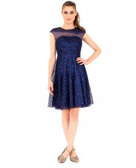 Lautinel Cocktail Kleid mit pailletten und geschloßenem Dekolleté Marinblau R8028-3