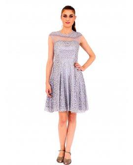 Lautinel Cocktail Kleid mit pailletten und geschloßenem Dekolleté Silber R8028-2