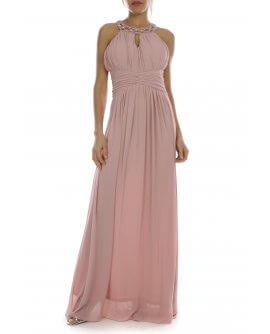 Wunderschönes Neckholder - Abendkleid mit kunstvollen Perlen am Hals in alt Rosa | R8303
