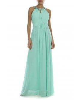 Schönes Elegantes Neckholder Abendkleid mit verzierten Perlen am Hals Mintgrün | R8303