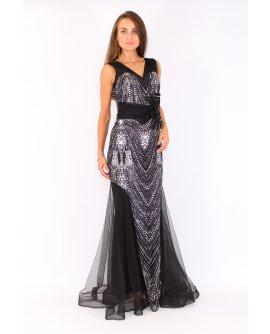 Elegantes Meerjungfrau Kleid mit Strasssteinen in  Schwarz | TU003