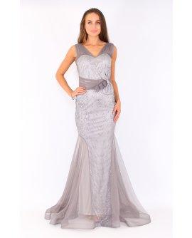 Elegantes Meerjungfrau Kleid mit Strasssteinen in  Silber | TU003