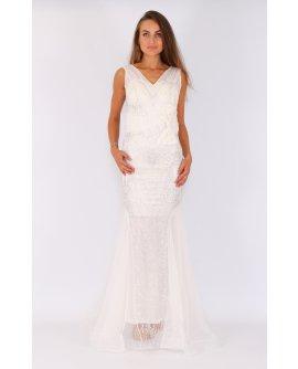 Elegantes Meerjungfrau Kleid mit Strasssteinen in  Weiß | TU003