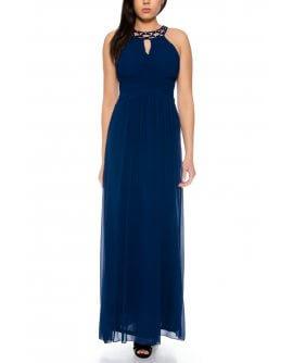 Schönes Elegantes Neckholder Abendkleid mit verzierten Perlen am Halsin Marineblau | R8303