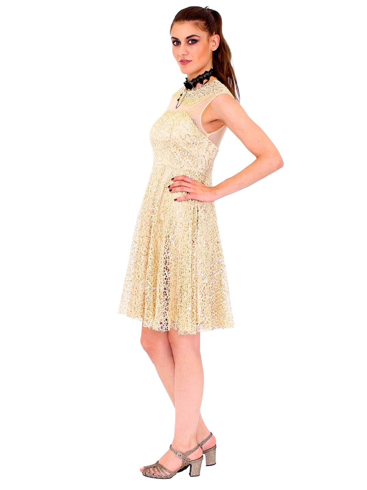 Lautinel Cocktail Kleid mit pailletten und geschloßenem Dekolleté ...