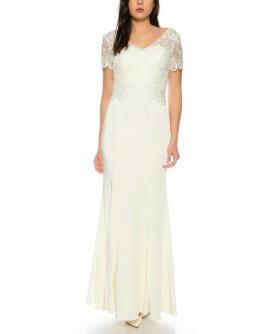 Elegantes Abendkleid Maxi Kleid im Meerjungfrau Stil kurzärmlig Oberteil aus feiner Spitze in Cream/Weiß von Juju&Christine/ R1605