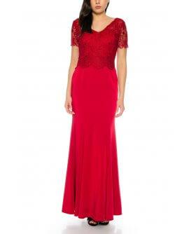 Elegantes Abendkleid Maxi Kleid im Meerjungfrau Stil kurzärmlig Oberteil aus feiner Spitze in Weinrot von Juju&Christine/ R1605