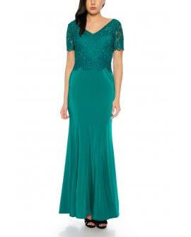 Elegantes Abendkleid Maxi Kleid im Meerjungfrau Stil kurzärmlig Oberteil aus feiner Spitze in Dunkel Grün von Juju&Christine/ R1605