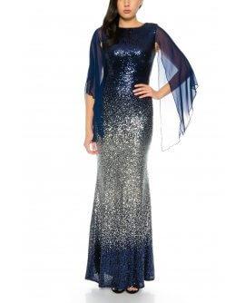 Elegantes Abendkleid Maxikleid in Meerjungfrau Stil komplett Sequeled Pailletten Kleid in Marineblau / Silber von Juju & Christine / R8144