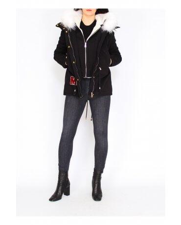 Damen Jacke mit Weiß Pelz in Schwarz CL1602-3