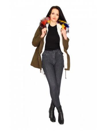 Damen Jacke Mit Pelz CL1606-2