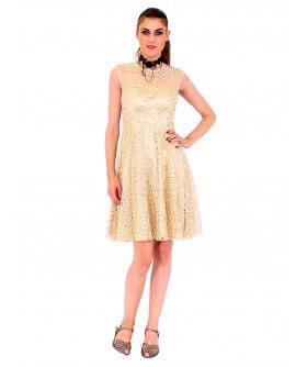 Lautinel Cocktail Kleid mit pailletten und geschloßenem Dekolleté Gold R8028-1