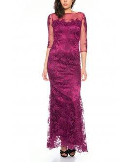 Elegantes Spitzen Abendkleid mit Transparenten 3/4 von Lautinel Langarm in Lila - R8107