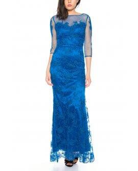 Elegantes Spitzen Abendkleid mit Transparenten 3/4 von Lautinel Langarm in Petrol - R8107
