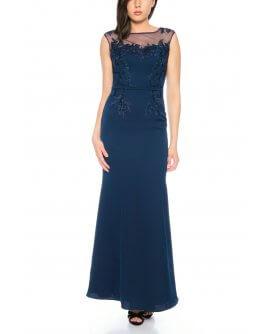 Figurbetontes Abendkleid mit floralem Patchwork und transparenten Trägern In Marineblau von Lautinel -R8109