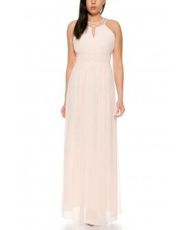 Beautiful Elegant Halterneck Evening Dress with Ornate Pearls on Halsin  Rose | R8303