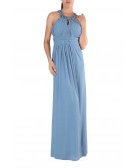 Schönes Elegantes Neckholder Abendkleid mit verzierten Perlen am Hals Tauben Blau | R8303