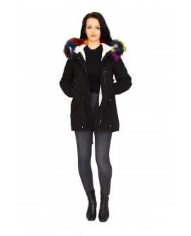 Damenjacke mit buntem Pelz in schwarz CL1606