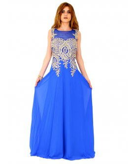 Juju&Christine Abendkleid in Chiffon mit feiner Stickerei in Royal Blau / Gold | R1560