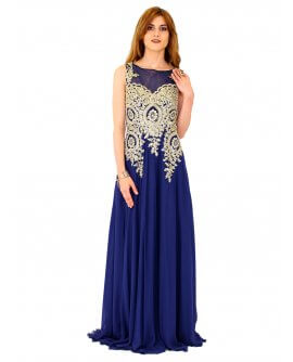 Juju&Christine Abendkleid in Chiffon mit feiner Stickerei in Marineblau / Gold | R1560