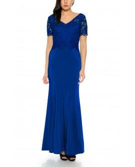 Elegantes Abendkleid Maxi Kleid im Meerjungfrau Stil kurzärmlig Oberteil aus feiner Spitze in Royalblau von Juju&Christine/ R1605