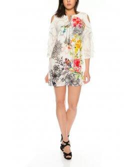 Offshoulder Kleid/Tunika mit floralem design von 101 Idees | X1211